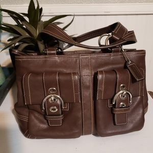 Coach vintage brown leather satchel handbag used